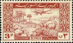◇Syria  1946    Plane and Flock of Sheep