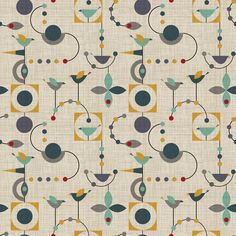 Blue Yellow Mod Geometic Birds Birdland Geometric By Vo Aka Virginiao Modern Bird Shapes Cotton Fabric The Yard With Spoonflower