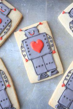 Valentine Robot Cookies - so cute!