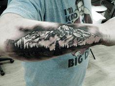 Black and White Mountain Tattoo