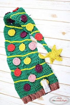 Festive Christmas Tree Extra Long Crochet Hat Pattern