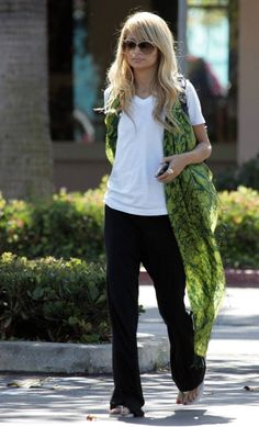 Follow Nicole Richie's style.Our light blue scarf with green stripe edging is a softer approach.Shop here -> https://www.glenprince.com/vertical-stripe-scarf-blue.html