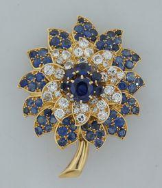 Diamond, Sapphire & Yellow Gold Flower Brooch image ...