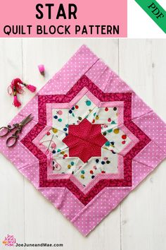This star quilts, I called it 'blowing in the wind', since it looks to me, like a little pinwheel turning in the wind. This pattern includes a colored and a blank overview for you to color yourself. #joejuneandmae #starquilts #fabriccraft #christmasquilt Modern Quilt Patterns, Paper Piecing Patterns, Fun Patterns, Sewing Patterns, Foundation Paper Piecing, Quilting Projects, Quilting Designs, Quilting Ideas, Sewing Projects