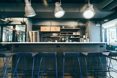 At WeWork Park South, there is a kitchen on every floor with coffee, water, and beer on tap.