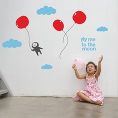 Upgrade your kids' rooms or play area with these fly me to the moon wall stickers. These wall decal can be placed as you wish on the wall to create a unique fantasy scene. Simply peel and stick the wall graphics to get a stylish and decorative look.$59.95