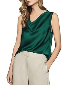 Buy Reiss Elle Cowl Neck Top, Teal from our Women's Shirts & Tops range at John Lewis & Partners. Reiss Fashion, Cowl Neck Top, Satin Top, Tailored Trousers, Satin Fabric, Her Style, Mini Skirts, Teal, Skinny