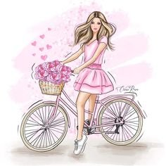 Days Of A Week, Mother Daughter Art, Baby Animal Drawings, Night Illustration, Snoopy Images, Pink Bike, Watercolor Girl, Beautiful Sketches, Girls With Flowers