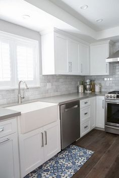 this is it    white cabinets  subway tile  quartz Black Kitchen Glass Backsplash Kitchen Backsplash Tile Samples