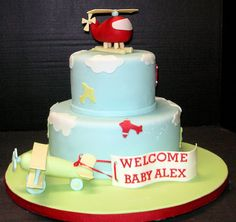 Airplane & Helicopter baby shower cake