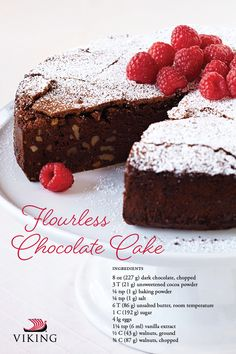 Flourless Chocolate Cake Recipe — It's Indulge in this cocoa-fueled holiday with this simple, fudgy and gluten-free treat Flowerless Chocolate Cake, Viking Food, Flourless Chocolate, Cake Chocolate, Yogurt Cake, Gluten Free Treats, Moist Cakes, No Bake Desserts, Keto Desserts