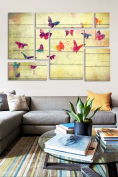 Flutter Away 8 Panel Sectional Wall Art   HauteLook
