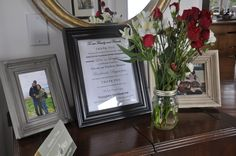 """Main guest entry table with our """"thank you message"""" Thank You Messages, Diy Wedding, Rustic, Frame, Table, Home Decor, Country Primitive, Picture Frame, Decoration Home"""