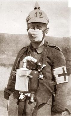 "German medic in early-WWI gas mask The first ""masks"" to protect against the deadly gasses such as chlorine (as they could actual..."