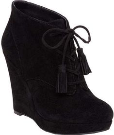 Jessica Simpson Women's Cyntia Wedge Bootie - Black Split Suede Boots