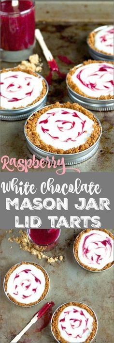 Easy, no bake mason jar lid tarts. Perfect Valentine's Day dessert for two.