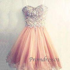 Sweetheart handmade beaded tulle short prom dress