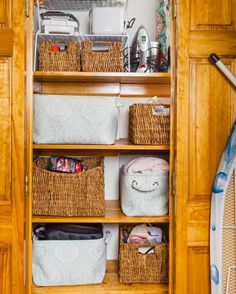 We love the alternating soft and woven boxes and baskets in this #appleshinenyc organized #utilitycloset. Soft fabric totes are perfect for holding towels linens and other foldable things while the structure of the woven baskets are perfect for collecting your user manuals cords bottles and other household necessities. #appleshineapproved!