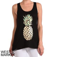 🌟HOST PICK✨ Sweet as Pineapple Tank Black tank with a gold pineapple on the front! Racerback. Super soft. West Market SF Tops Tank Tops