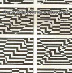 vintage 1970's optic illusion pattern art print book plate black & white pop art design retro home decor mod geometric picture wall 57 58 by RecycleBuyVintage on Etsy