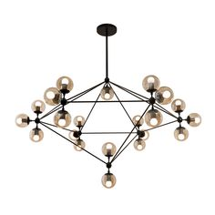 Bola suspension features a metal geometric structure with 10, 15 or 21 smoked globe shades with a finish in black. Includes 8 inch round canopy and several stem mounting options; the required 8 inch stem for mounting as a ceiling fixture and additional combination of two 12 inch and two 20 inch stems for a maximum length of 74 inches. Includes 25 watt 120 volt G16.5 clear medium base globe incandescent lamps. Slope ceiling version available for slope ceiling applications, sold separately…