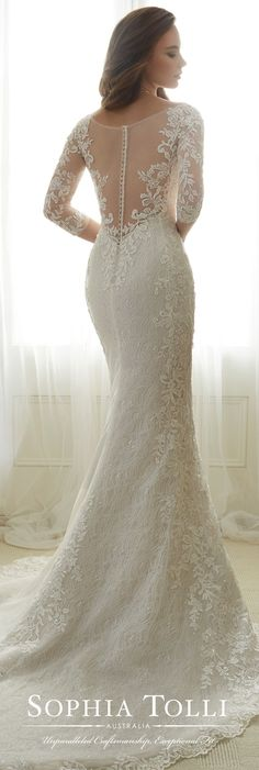 Sophia Tolli Spring 2017 Wedding Gown Collection - Style No. Y11702 Gabrielle - lace 3/4 length sleeve trumpet wedding dress with illusion back #weddinggowns