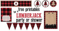 Lumberjack party or baby shower free printables. Throw a great lumberjack themed party and let us do all of the work. Lumberjack Birthday Party, Wild One Birthday Party, Birthday Ideas, 16th Birthday, Birthday Parties, Free Baby Shower Printables, Free Printables, Party Printables, Merry Christmas Banner