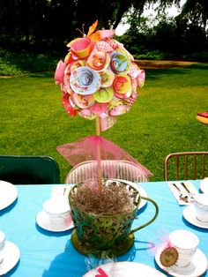 Whimsical colorful Alice in wonderland tea party paper rose topiary in tea cup centerpiece, Would be great for Onederland first birthday.