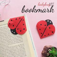 Cool Paper Crafts, Paper Crafts Origami, Diy Arts And Crafts, Lady Bug, Bookmarks Diy Kids, Handmade Bookmarks, Origami Ladybug, Diy For Kids, Crafts For Kids