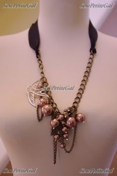 SewPetiteGal: Mixed Media Pearl Necklace DIY Tutorial