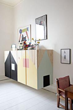 Floating-Ikea-Ivar-For-Kids-Room home design and interior Ikea Ivar Cabinet, Armoire Ikea, Ikea Cupboards, Ikea Kids, Ikea Children, Decoration Ikea, Kids Decor, Decor Ideas, Deco Kids