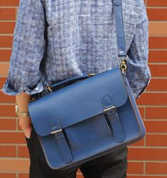 Blue genuine leather messenger bag