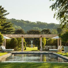 Seaside Garden, Lush Garden, Swimming Pool Designs, Swimming Pools, Rectangular Pool, Outdoor Retreat, Old Farm Houses, Pool Decks, Outdoor Living