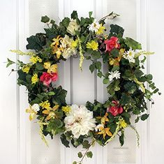 Summer Garden Breeze Spring Wreath Decorative Door Wreath *** Continue to the product at the image link. (This is an affiliate link) Spring Front Door Wreaths, Spring Wreaths, Outdoor Wreaths, Year Round Wreath, Front Door Decor, Summer Garden, Summer Wreath, Grapevine Wreath, Floral Wreath