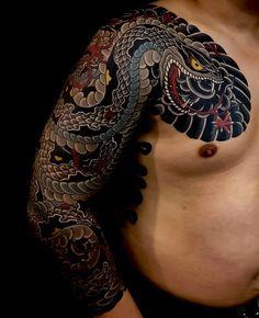 Japanese tattoo sleeve by Renee Garner – Serpent tattoo Irezumi Tattoos, Yakuza Style Tattoo, Marquesan Tattoos, Tebori Tattoo, Japanese Snake Tattoo, Japanese Dragon Tattoos, Japanese Sleeve Tattoos, Full Sleeve Tattoos, Asian Tattoos