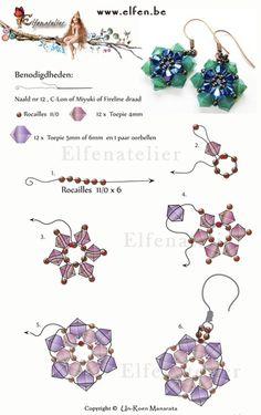 Gratis patronen | Elfenatelier Seed Bead Tutorials, Jewelry Making Tutorials, Beading Tutorials, Beaded Earrings Patterns, Seed Bead Earrings, Crystal Earrings, Seed Beads, Bracelet Patterns, Crystal Pendant