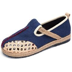 b9c22f661ef Pure Color Hollow Out Knitting Flax Slip On Retro Flat Shoes