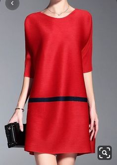 Shyslily Red Loose Pleated A Line Dress Casual Dresses, Short Dresses, Casual Outfits, Fashion Dresses, Mini Dresses, Pleated Dresses, Fashion Clothes, Fashion Mode, Womens Fashion