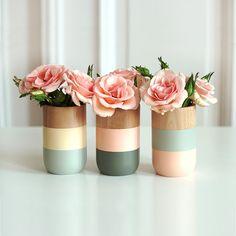 Get Happy Color Block Wood Vases - Set of 3 | dotandbo.com