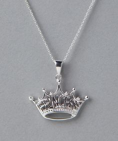 Take a look at this Disney Sterling Silver 'Princess' Crown Pendant Necklace by Cartoon Twinkle: Girls' Jewelry on #zulily today!