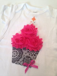 Birthday Tee or Onesie Cupcake Bodysuit Outfit Girl Cake Smash Shabby Flower 3D First Second Third Baby Hot Pink Black Shabby Chic Custom on Etsy, $19.99