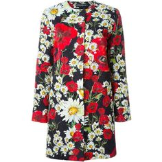 Dolce & Gabbana daisy and poppy print coat (268750 RSD) ❤ liked on Polyvore featuring outerwear, coats, multicolour, dolce&gabbana, long sleeve coat, brocade coat, colorful coat and embroidered coat