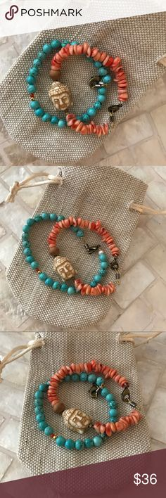 Coral, turquoise, and prayer beads bracelets Stacking bracelets. Coral, turquoise, and prayer beads from India. Clasped with high end waterproof material, and stung on fishing line.  Namaste 🙏 Jewelry Bracelets