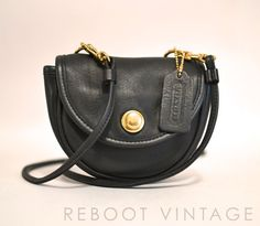 Vintage COACH USA Tiny Black Leather Belt Bag  by RebootVintage, $93.00