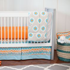 Gray and Orange Ikat Dot Three-piece Crib Bedding Set | Carousel Designs