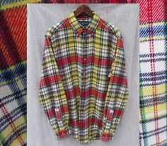 RALPH LAUREN Plaid Top Heavy Flannel Button Front Shirt Mens M GUC #rhosplace