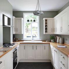White and sage green kitchen | Kitchen storage | Kitchen | PHOTO GALLERY | 25 Beautiful Homes | Housetohome.co.uk