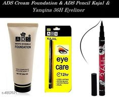 Makeup Combo ADS White Invisble Foundation & ADS Eyecare Black Waterproof Kajal With Yanqina 36H Liquid Pen Eyeliner   Product Name: ADS White Invisble Foundation & ADS Eyecare Black Waterproof Kajal With Yanqina 36H Liquid Pen Eyeliner  Brand Name: ADS& Yanqina  Product Type: Foundation Kajal & Eyeliner Capacity: Foundation- 60 ml Kajal- 0.35 gm & Eyeliner- 2.5 gm Package Contains: It Has 1 of Pack of Foundation 1 of Pack of Kajal & 1 of Pack of Eyeliner Country of Origin: India Sizes Available: Free Size *Proof of Safe Delivery! Click to know on Safety Standards of Delivery Partners- https://ltl.sh/y_nZrAV3  Catalog Rating: ★4 (894)  Catalog Name: make up ADS / Kiss Beauty/Yanqina Face Makeup Foundation/Compact Powder/Kajal/Eyeliner Vol 3 CatalogID_700706 C51-SC1540 Code: 351-4807071-