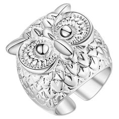 Male Female 925 Silver Ring Adjustable Owl Ring Jewelry  | eBay