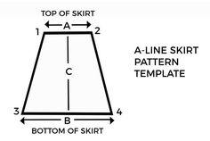 a line skirt pattern template A Line Mini Skirt, A Line Skirts, Skirt Patterns Sewing, Clothing Patterns, Coat Patterns, Blouse Patterns, Diy Clothing, A Line Skirt Pattern Free, Pattern Skirt